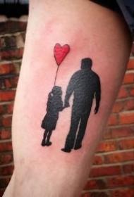 亲情主题纹身 父亲与孩子的父爱纹身图案