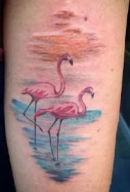 15款关于火烈鸟的纹身图案