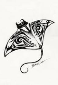 关于魔鬼鱼蝠鲼的纹身图片