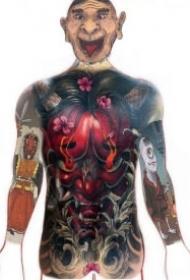 日式传统般若大面积纹身图案