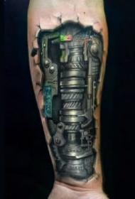酷炫的男性逼真机械臂纹身图案