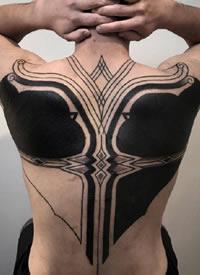 花式几何规则的大黑臂纹身图案