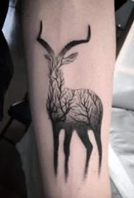 18款小鹿的鹿头纹身图案精选