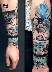 15款精美的环绕手臂的手环纹身图案