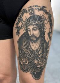国外写实的基督教耶稣纹身图案