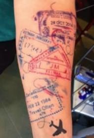 有趣创意的护照印章纹身图案