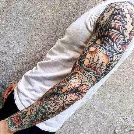 一组oldschool的拼接花臂纹身图案