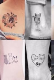 小清新的可爱宠物猫狗纹身图案