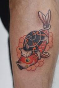 有趣的日式风格大猫纹身图案