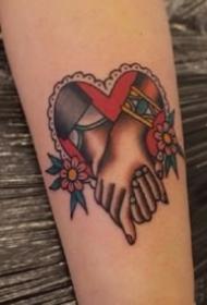 代表爱情的心形oldschool纹身图案
