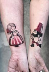 好看成对的小清新情侣纹身图案