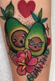 彩色新鲜的水果和蔬菜纹身图片