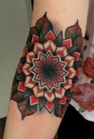 手肘膝盖部位的oldschool梵花纹身图片
