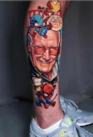 非常酷的大面积花腿纹身图案