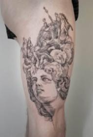 纹在大腿和大臂的西方铜版画纹身图案