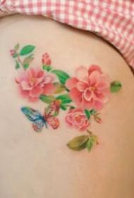 女生大腿部位性感的花卉纹身图案