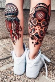 小腿前后成对的oldschool纹身图案