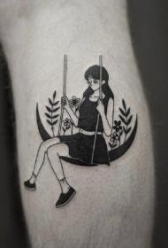 坐在月亮上的女郎创意纹身小图案