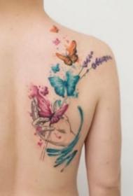 小清新漂亮的水彩蝴蝶纹身图案