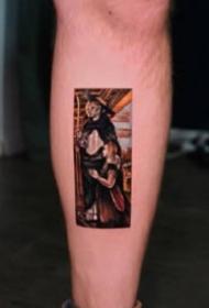一组油画风格的纹身图案