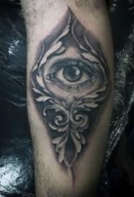 手臂上写实深邃的大眼睛纹身图案