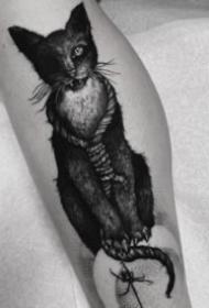 暗黑风格恐怖的猫纹身图案