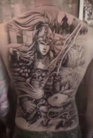 传统风格关羽二郎神等人物的大满背纹身图案