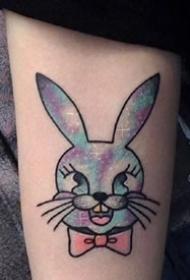 一组水彩小兔子纹身图案欣赏