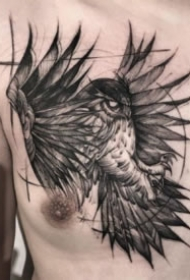 纹在胸部的霸气老鹰纹身图案