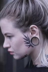 头部面部的一组个性纹身图案