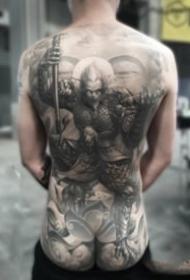 中国传统风格的大满背纹身图案