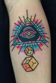 几何图形和眼睛组合的纹身图案