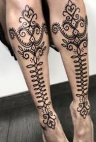 精选一组点刺梵花图腾纹身图案