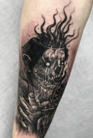 欧美恐怖的暗黑包大臂纹身图案
