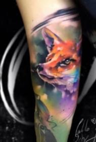 水彩风格的动物纹身图案大全
