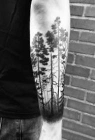 黑色静谧的森林风景纹身图案大全
