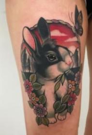一组可爱小兔子纹身图案大全