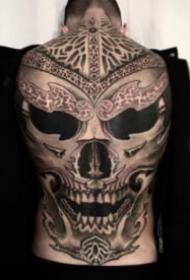 欧美超现实暗黑大满背纹身图案