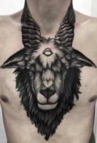 暗黑风格的羊头纹身图案大全