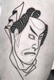 暗黑线条日式面具纹身图案