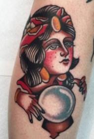 old school风格的红色女郎纹身图案