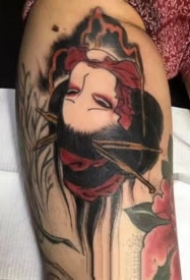 彩色的日式生首纹身图案大全