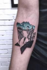 蓝色主题的创意黑色点刺纹身图案
