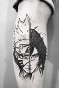 黑灰素描动漫卡通人物纹身图案
