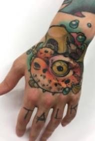 school风格的大花手背纹身图案