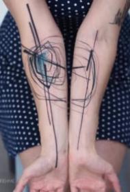 凌乱写意的水墨线条纹身图案大全