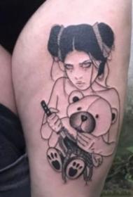 黑灰色日本艺伎等女郎纹身图案