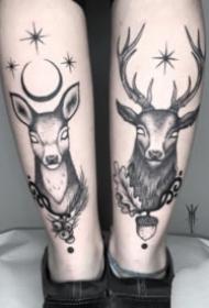 左右对称的成对黑灰纹身图案