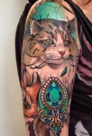 newschool风格的彩色动物纹身图案