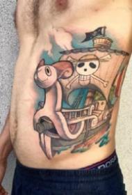海贼王路飞乔巴艾斯等角色纹身图案